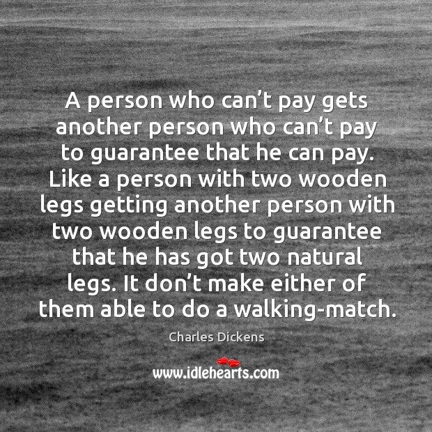 Image, A person who can't pay gets another person who can't pay to guarantee that he