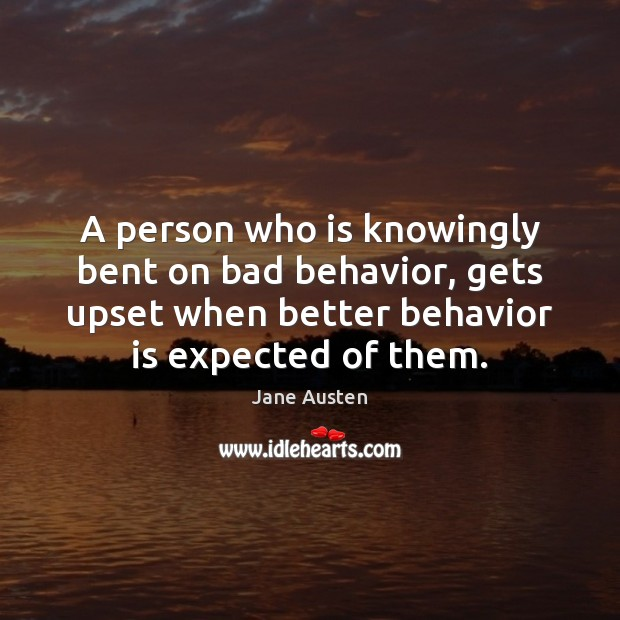 Image, A person who is knowingly bent on bad behavior, gets upset when