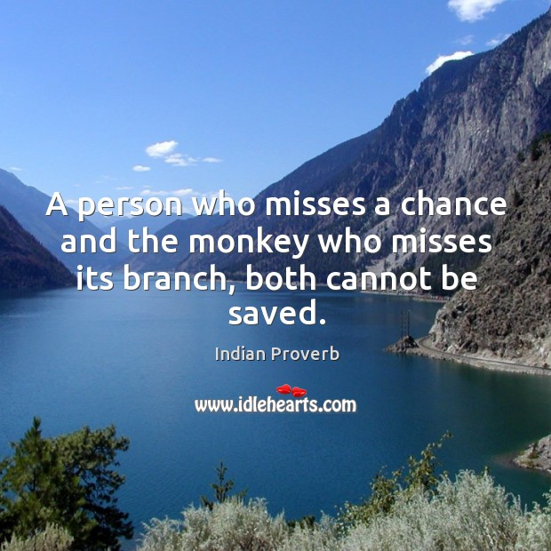 Image, A person who misses a chance and the monkey who misses its branch, both cannot be saved.