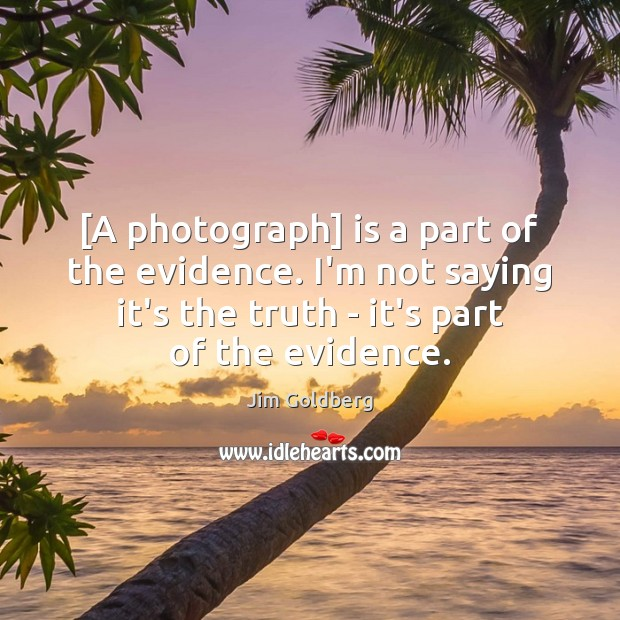 Image, [A photograph] is a part of the evidence. I'm not saying it's