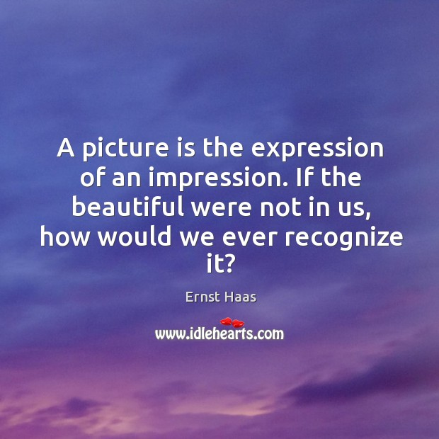 A picture is the expression of an impression. If the beautiful were not in us, how would we ever recognize it? Ernst Haas Picture Quote