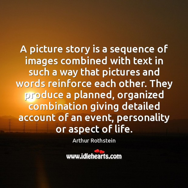 Image, A picture story is a sequence of images combined with text in