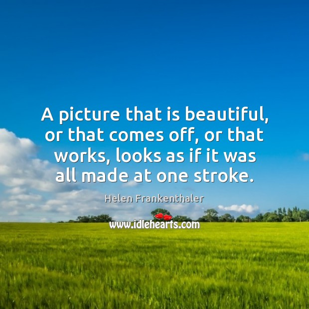 A picture that is beautiful, or that comes off, or that works, Helen Frankenthaler Picture Quote