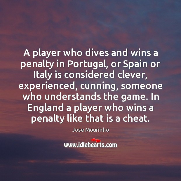A player who dives and wins a penalty in Portugal, or Spain Image