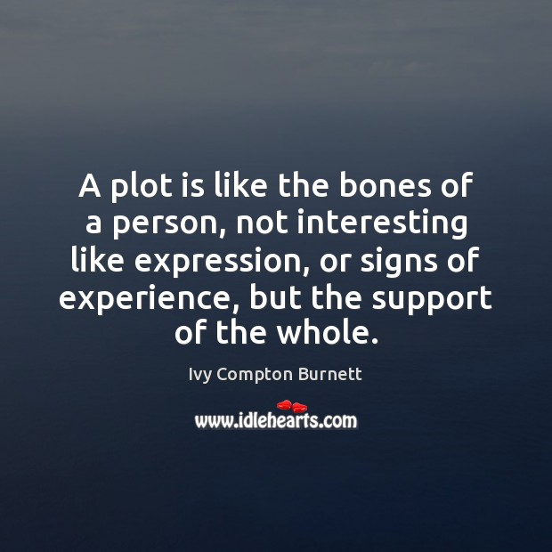 A plot is like the bones of a person, not interesting like Ivy Compton Burnett Picture Quote