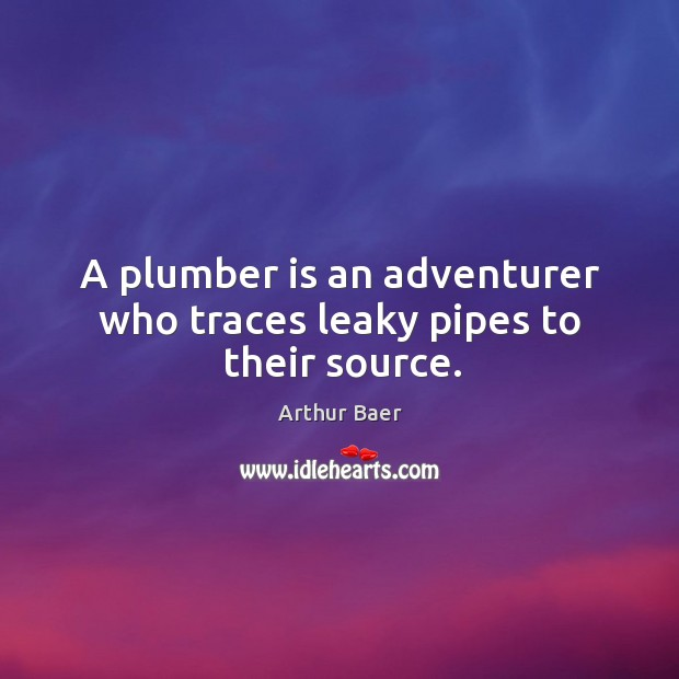 Image, A plumber is an adventurer who traces leaky pipes to their source.