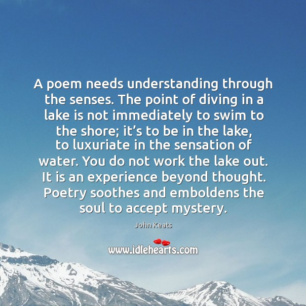 A poem needs understanding through the senses. The point of diving in Image