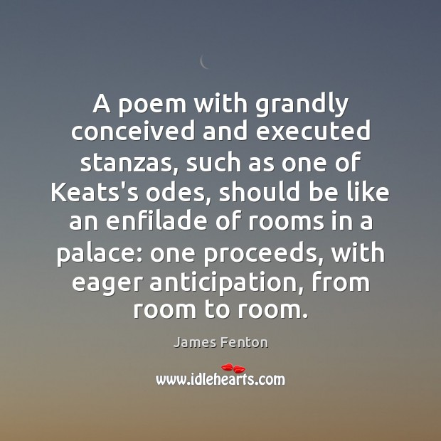 A poem with grandly conceived and executed stanzas, such as one of Image
