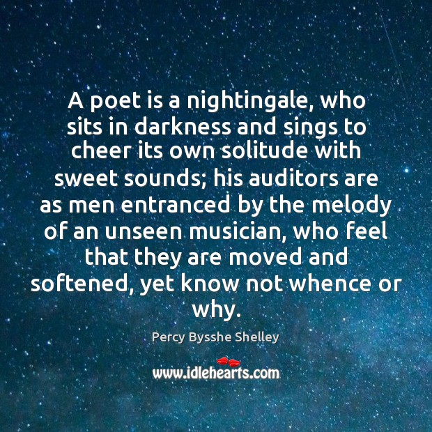 A poet is a nightingale, who sits in darkness and sings to Image