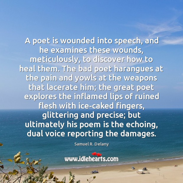A poet is wounded into speech, and he examines these wounds, meticulously, Heal Quotes Image