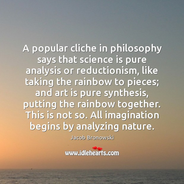 Image, A popular cliche in philosophy says that science is pure analysis or