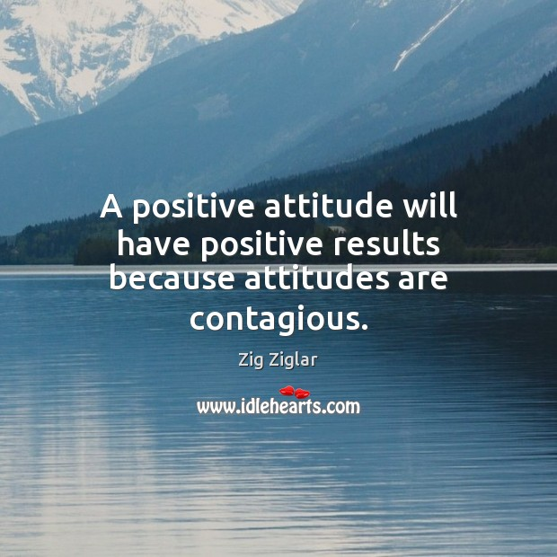 A positive attitude will have positive results because attitudes are contagious. Zig Ziglar Picture Quote
