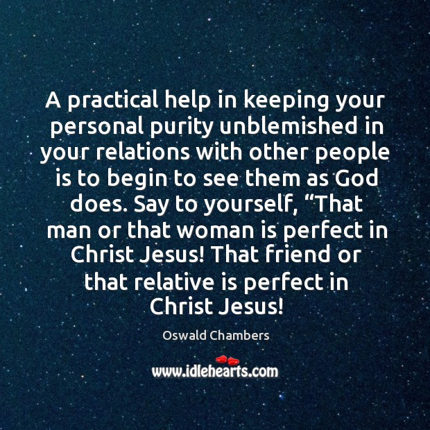 A practical help in keeping your personal purity unblemished in your relations Image