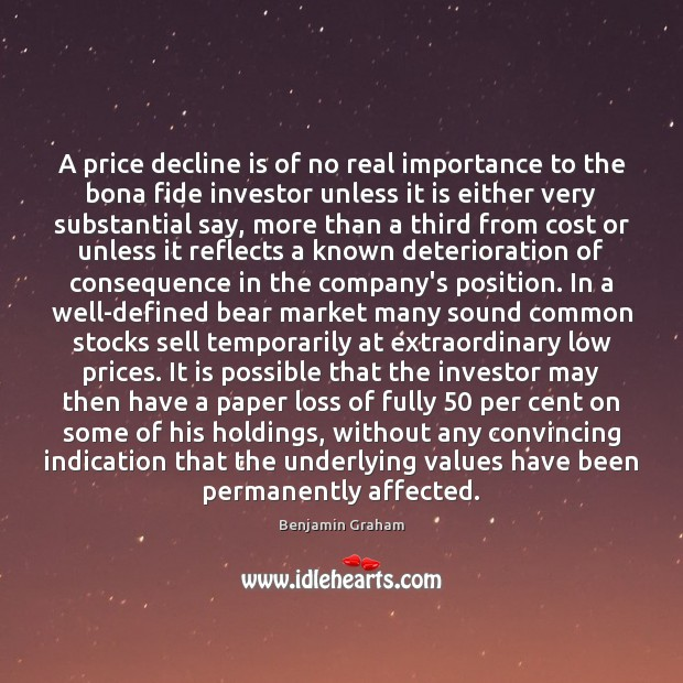Image, A price decline is of no real importance to the bona fide