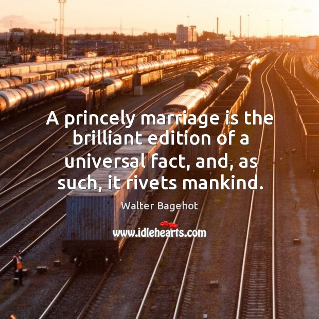 Image, A princely marriage is the brilliant edition of a universal fact, and,