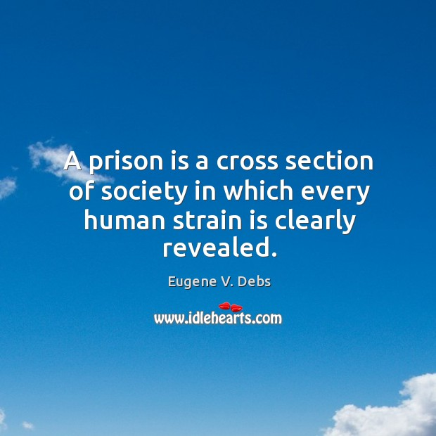 A prison is a cross section of society in which every human strain is clearly revealed. Image