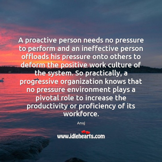 Image, A proactive person needs no pressure to perform and an ineffective person