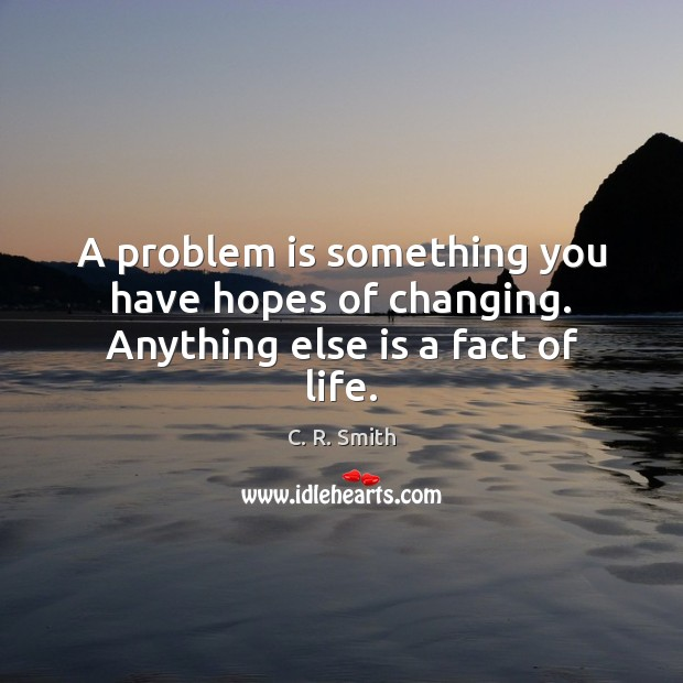 Image, A problem is something you have hopes of changing. Anything else is a fact of life.