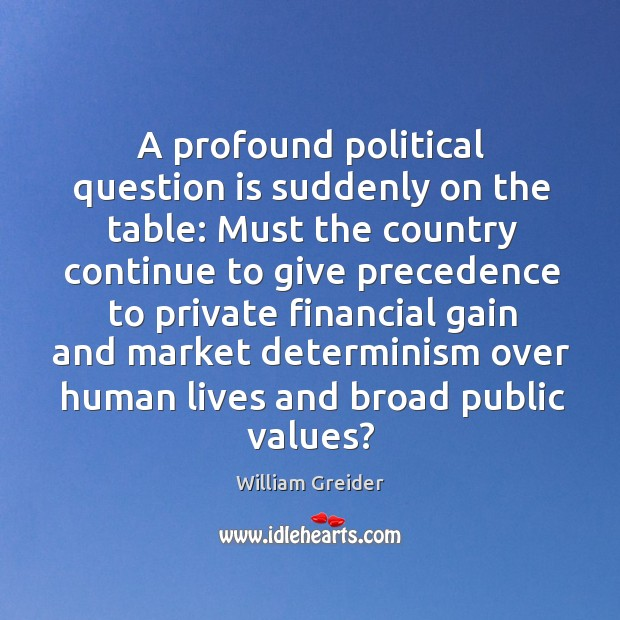 A profound political question is suddenly on the table: must the country continue to William Greider Picture Quote
