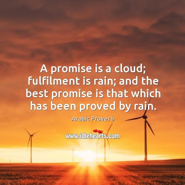 Image, A promise is a cloud; fulfilment is rain.