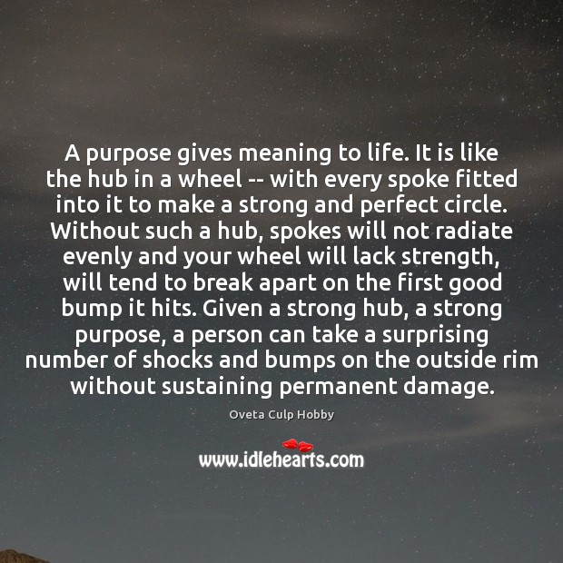 A purpose gives meaning to life. It is like the hub in Image