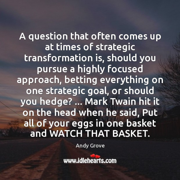 A question that often comes up at times of strategic transformation is, Andy Grove Picture Quote