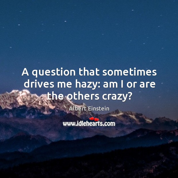 A question that sometimes drives me hazy: am I or are the others crazy? Image