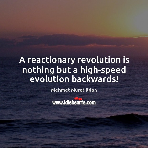 A reactionary revolution is nothing but a high-speed evolution backwards! Mehmet Murat Ildan Picture Quote