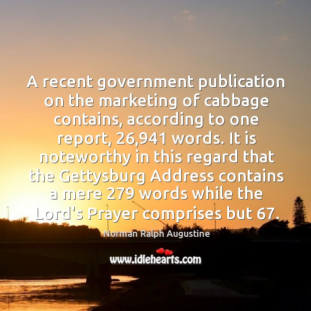 A recent government publication on the marketing of cabbage contains, according to Image