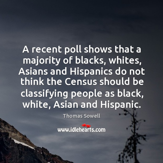 A recent poll shows that a majority of blacks, whites, Asians and Image