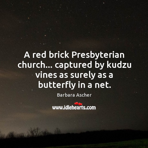 Image, A red brick Presbyterian church… captured by kudzu vines as surely as