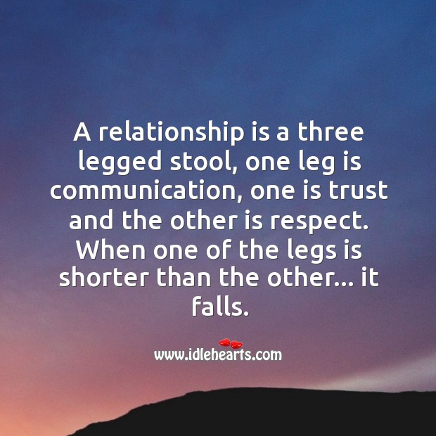 Image, A relationship is a three legged stool.