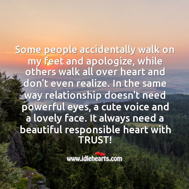 A relationship needs a beautiful responsible heart with trust. Image