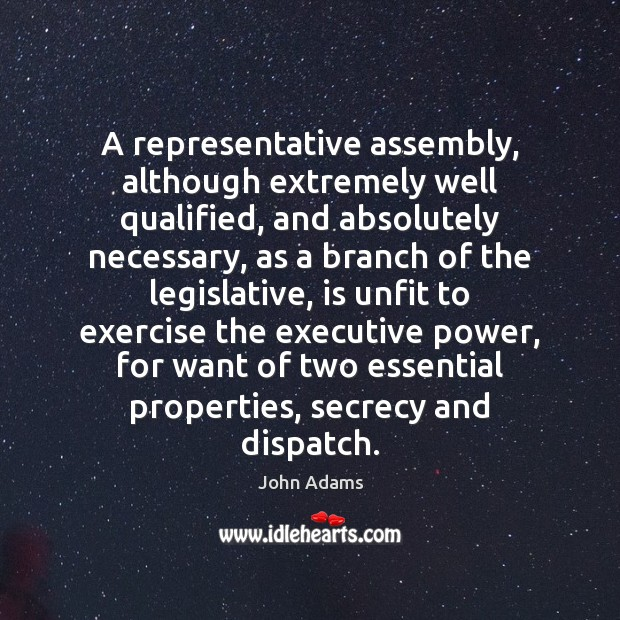 A representative assembly, although extremely well qualified, and absolutely necessary, as a John Adams Picture Quote