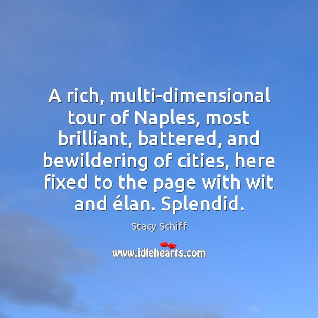 A rich, multi-dimensional tour of Naples, most brilliant, battered, and bewildering of Stacy Schiff Picture Quote