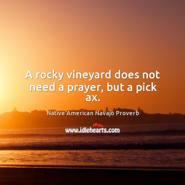 A rocky vineyard does not need a prayer, but a pick ax. Native American Navajo Proverbs Image