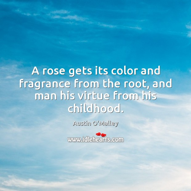 A rose gets its color and fragrance from the root, and man his virtue from his childhood. Austin O'Malley Picture Quote