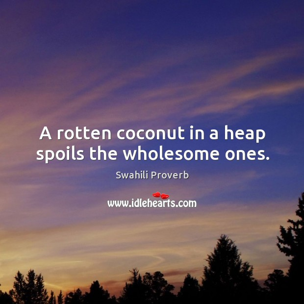 Image, A rotten coconut in a heap spoils the wholesome ones.