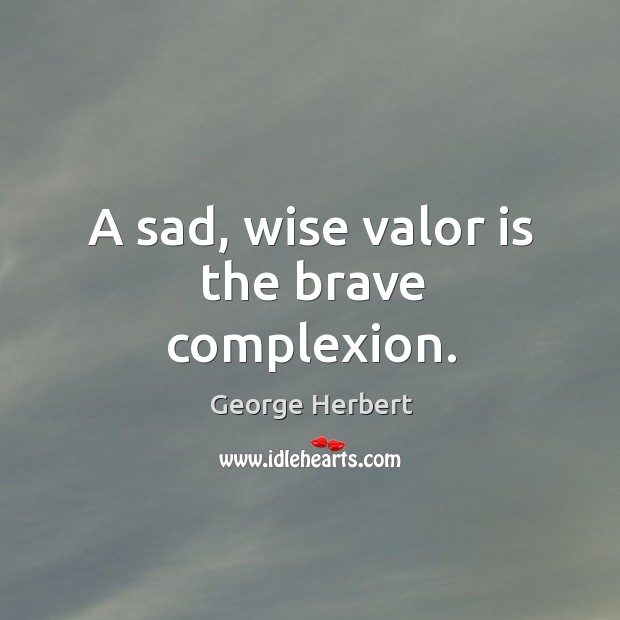 Image, A sad, wise valor is the brave complexion.