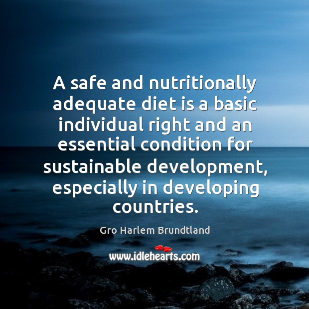 A safe and nutritionally adequate diet is a basic individual right and an essential condition Diet Quotes Image