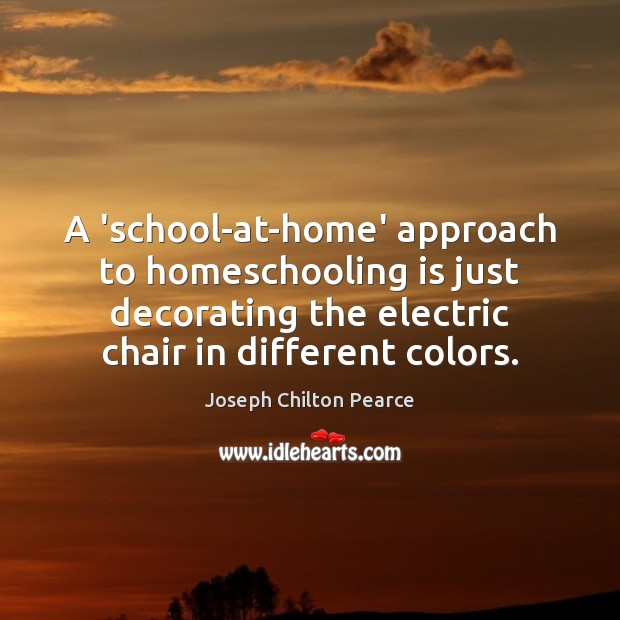 A 'school-at-home' approach to homeschooling is just decorating the electric chair in Image
