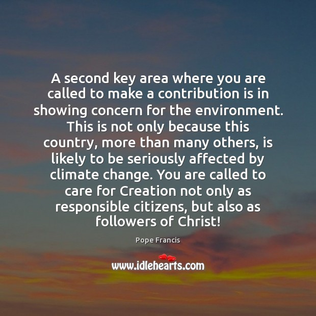 A second key area where you are called to make a contribution Pope Francis Picture Quote
