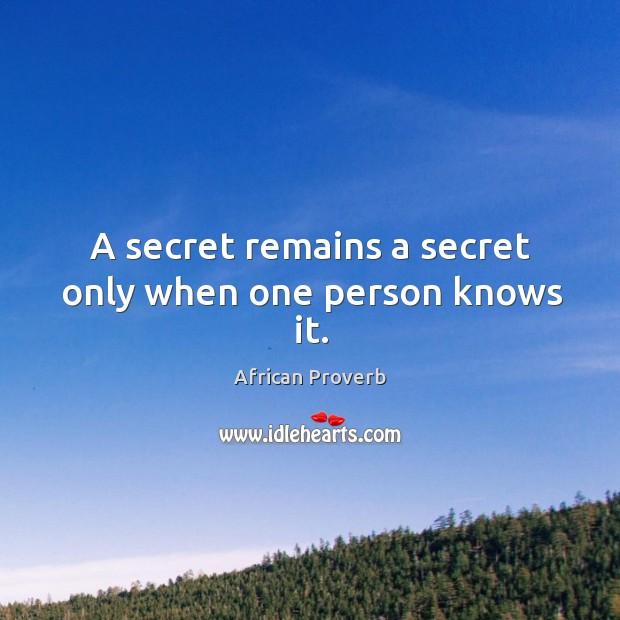 A secret remains a secret only when one person knows it. Image
