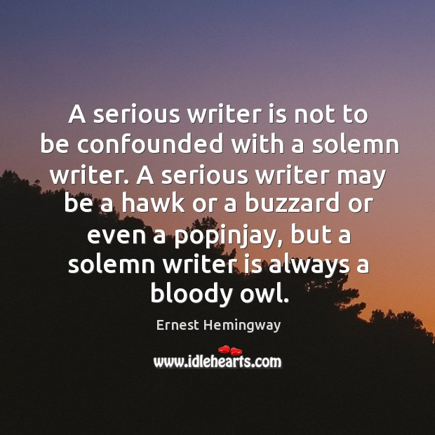 Image, A serious writer is not to be confounded with a solemn writer.