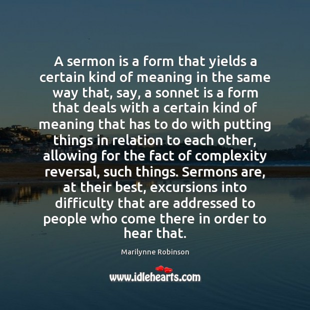 A sermon is a form that yields a certain kind of meaning Image