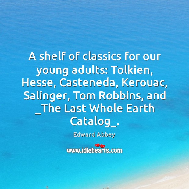 A shelf of classics for our young adults: Tolkien, Hesse, Casteneda, Kerouac, Image
