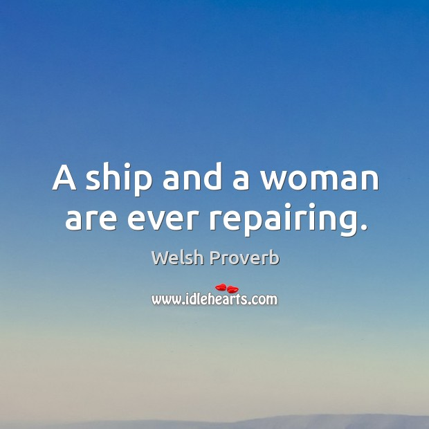 Image, A ship and a woman are ever repairing.