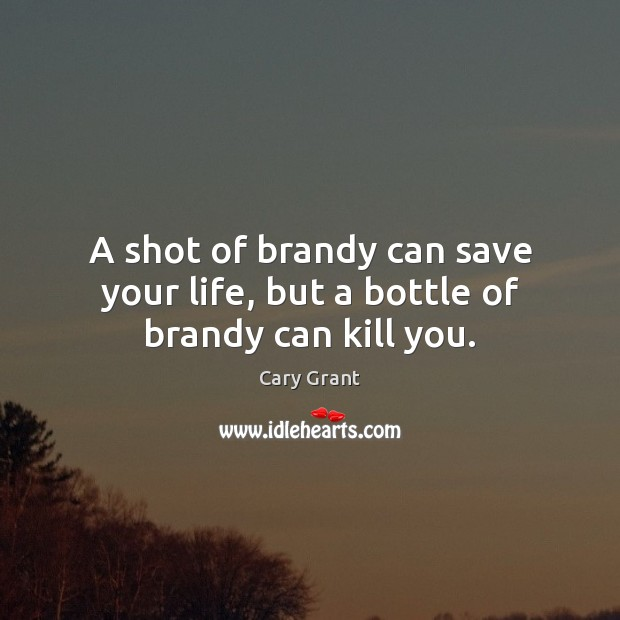 Image, A shot of brandy can save your life, but a bottle of brandy can kill you.