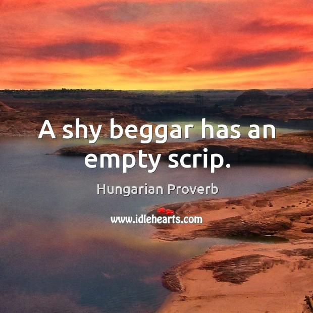 Image, A shy beggar has an empty scrip.