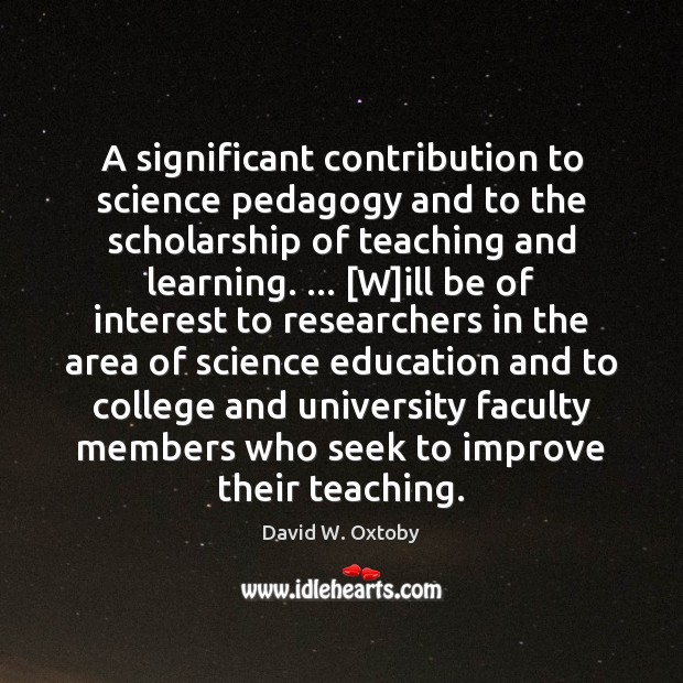A significant contribution to science pedagogy and to the scholarship of teaching Image